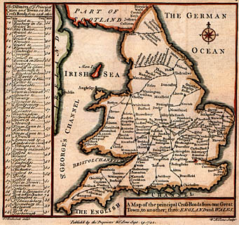Road Map Of England And Wales With Towns.Badeslade 1742 England And Wales Cross Roads