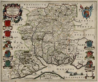 Map Of Uk Hampshire.Blaeu S Hampshire 1645 Whole Map