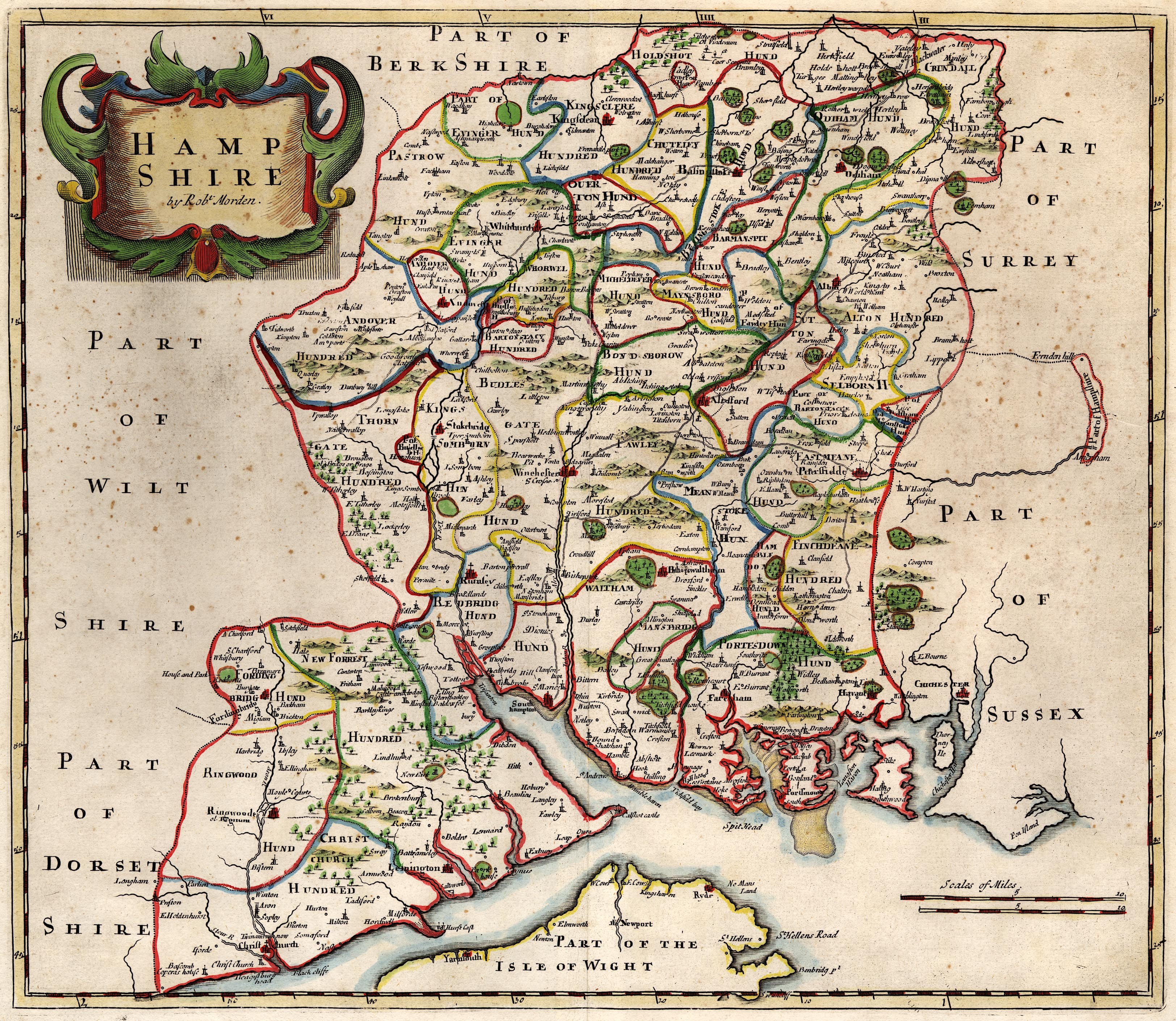 Map Of Uk Hampshire.Morden S Hampshire 1695 Whole Map
