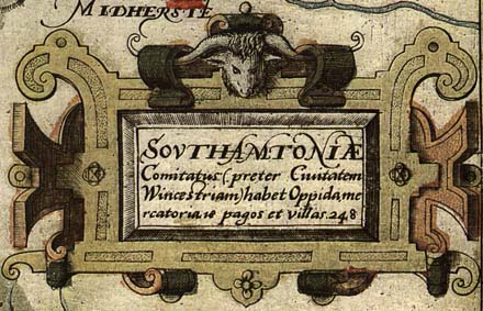 Saxton's Hampshire 1575, title, coat of arms, maker etc