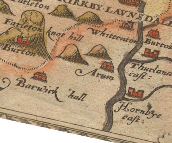 Christopher Saxton's map 1576, places identified